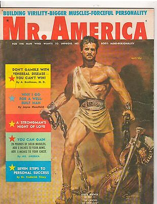 MR AMERICA bodybuilding magazine/STEVE REEVES Cover design by JOE WEIDER 5-58