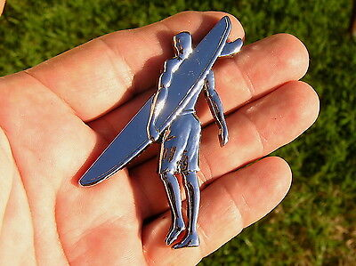 SURFER CAR BADGE Chrome Metal Emblem *NEW* Surf Board Rider Beach Holden Sandman