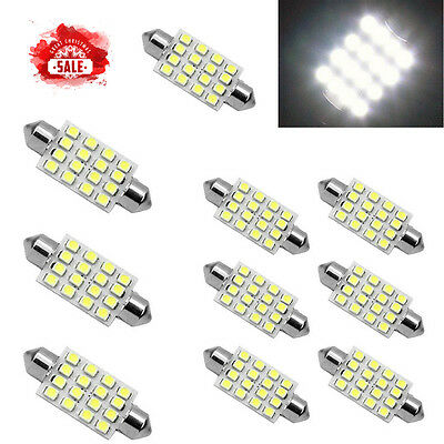 3PCS white 42mm 16SMD Car LED Festoon Dome Map Interior Cargo Light Bulbs 578