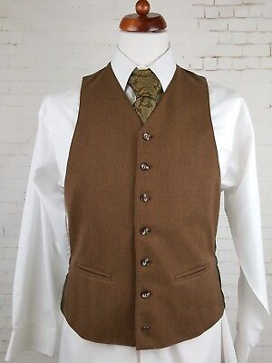 Vtg Mens Single Breast Brown High Fit Smart Wool Tweed Look Waistcoat -36- EQ10
