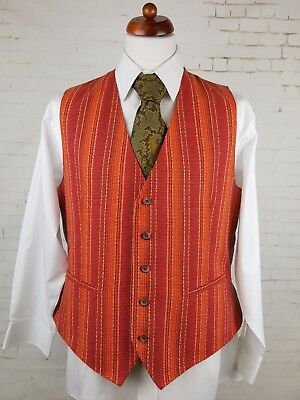 Vtg Mens Single Breast Orange & Red Stitch Weave  Waistcoat -46R- EQ11