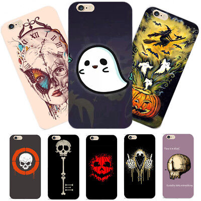 Funny Skull Pumpkin Ghost Printed Hard Phone Case Cover for iPhone X 6s/7/8 Plus