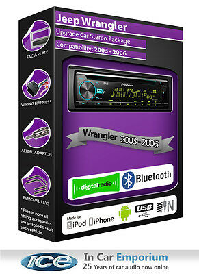 Jeep Wrangler DAB radio, Pioneer stereo CD USB AUX player, Bluetooth handsfree