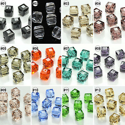 100pcs Various Color Synthetic Crystal Gemstone Square Shape Loose Beads 8mm