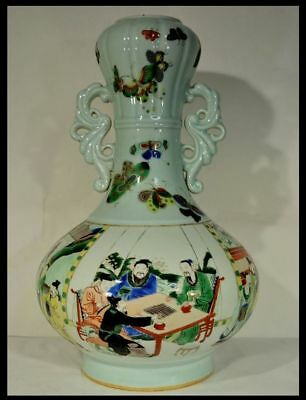CHINESE FAMILLE ROSE CALLIGRAPHY Court People VASES