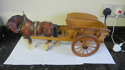 beswick action shire in harness with cart