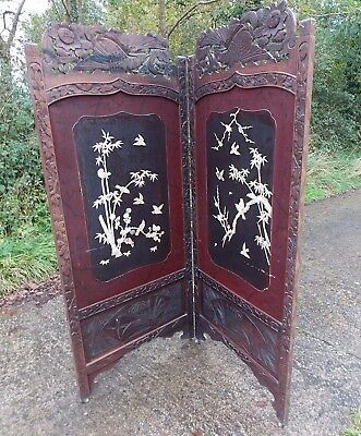 Antique Oriental Eastern 2 Panel Painted Wooden Screen Room Divider With Inlay