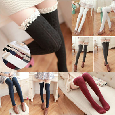 Women Girls Over The Knee Long Socks Lace Knit Warm Soft Thigh High Stocking UK