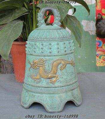"""13""""Old Chinese Period Bronze Gilt Fengshui Dragon Statue BiXie Statue Bell Zhong"""
