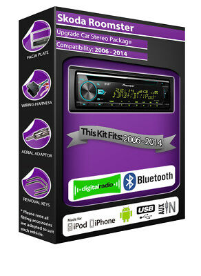 Skoda Roomster DAB radio, Pioneer stereo CD USB player, Bluetooth handsfree kit