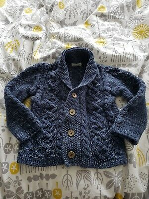 boys NEXT blue chunky knit cardigan / jumper 9-12 months