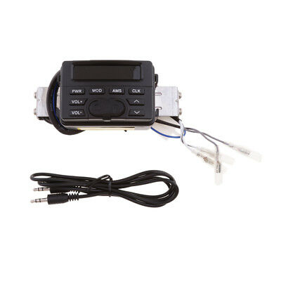 12V Motorcycle Handlebar FM Audio Radio Sound System Stereo Speaker MP3/AUX