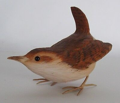 Beautiful Signed Carved & Painted Songbird Wren Dated 1978, Glass Eyes