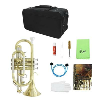Bb Flat Cornet Brass Instrument with Carrying Case Gloves for Music Lovers