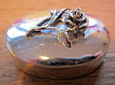 A Birmingham Hallmarked Solid Sterling Silver Rose Box / Snuff Pill Keepsake