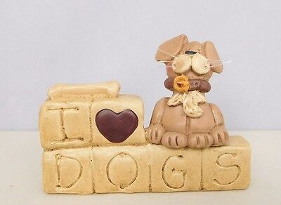 I Love Dogs - New resin block with a small dog & bone by Blossom Bucket #26753