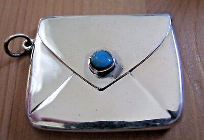 Hallmarked Sterling Silver Arts & Crafts Style Stamp Case With Turquoise Button