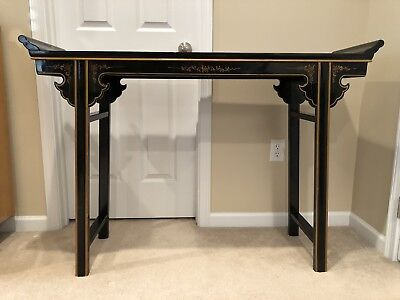 Chinese Black Lacquer & Gold Hand Painted Calligraphers Table Console