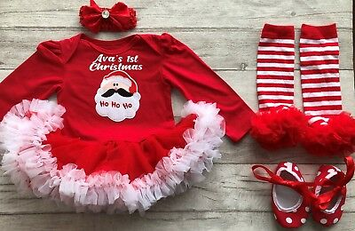 Personalised Baby Girl 1st Christmas Dress Santa Outfit Present Newborn Party