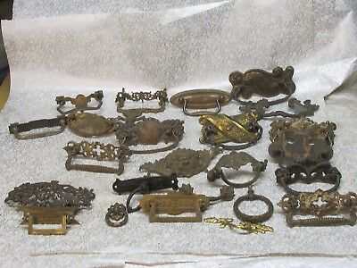 Lg Lot of  Vintage Assorted Sizes Brass  & Metal Drawer Pulls