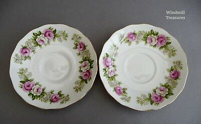 Vintage Colclough Pink And White Rose Gilded Bone China Replacement Tea Saucers