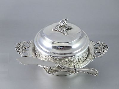 Antique Victorian IMPERIAL SILVER Co Triple Silverplate BUTTER DISH W/KNIFE
