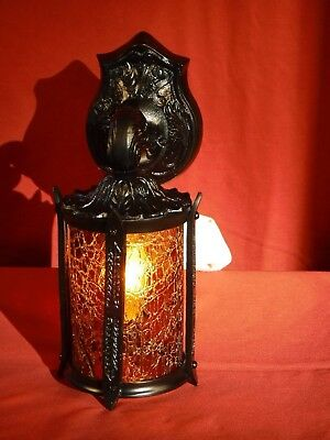 1910s MISSION ARTS & CRAFTS PORCH SCONCE W/ CYLINDER GLASS