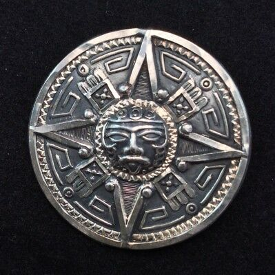 Mexico 925 Sterling Silver Etched Pendant Brooch Aztec Sun god Signed Crown Mark