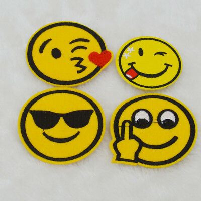 Smiley Embroidered Iron on patch Sew on Applique clothes Fabric badge Bag Crafts