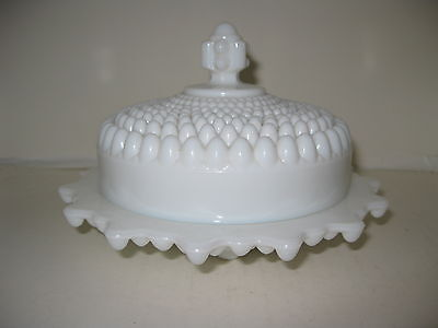 White Westmoreland Hobnail Footed Round Butter Dish w/Domed Lid