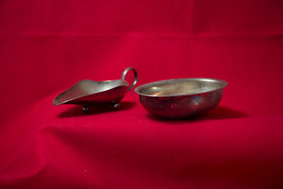 Silver tone/plated wine taster  and bowl – vintage collectibles