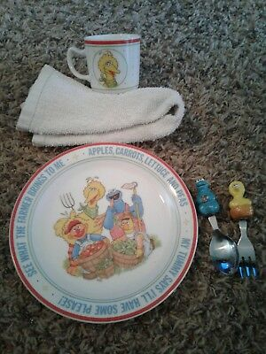 Vintage Sesame Street dish set plate and cup with Fork and Spoon Newcor