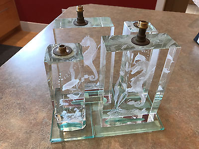 Glass decorative dolphin seahorse fish lamp bases (Set of 4)