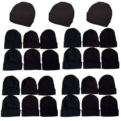 1-15 Dozens Wholesale Lot Black Beanie Knit Ski Cap Skull Cuff  Winter Hats Lots