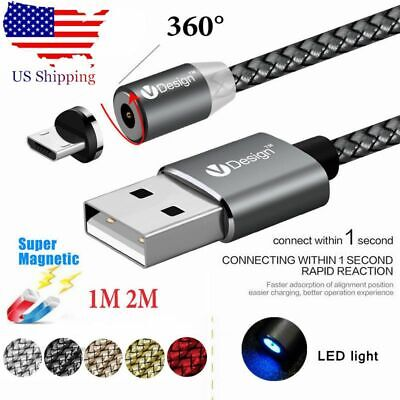 US 2.4A 360 Round Magnetic LED Micro USB Fast Charging Cable For Samsung Android