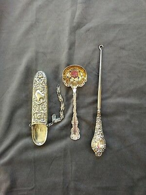 Job Lot Silver and EPNS includes Button Hook, Lunette Case & Strawberry spoon