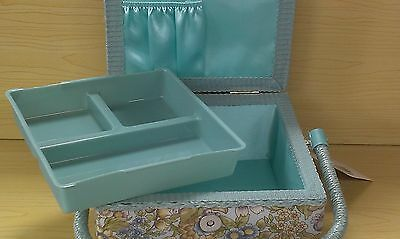 BNWT-Floral Design-Small Square Fabric Covered Sewing Boxes by Hobby Gift