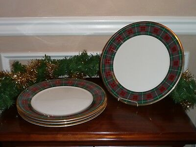 LENOX HOLIDAY TARTAN BUFFET CHARGER PLATES ~ SET OF 4 ~ New with tags ~Beautiful & HUGE Lot Lenox Holiday 12 Dinner Plates 12 Salad Plates 4 Cups ...