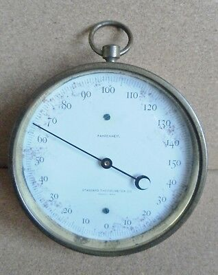 antique collectable original brass thermometer Peabody Massachusetts working