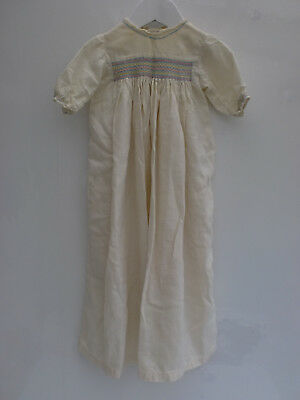 Antique 1940's Long Cream Hand Smocked Dress Gown Christening Baby Vintage