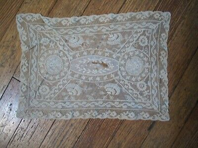 """Antique Lace  and Embroidered Doily  12-1/2"""" x 8-1/2"""""""