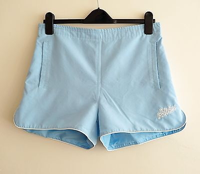 Vintage Retro ADIDAS light blue High Waist Tennis Shorts Summer Holiday UK 14