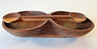 Carved Acacia Wood Double Bowl WIth Balancing Carved Double Sided Spoon