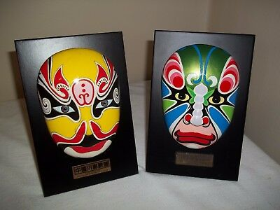 Lot of 2 Gorgeous Mask of SICHUAN OPERA  Hand Painted Wall Plaque or Easel Back