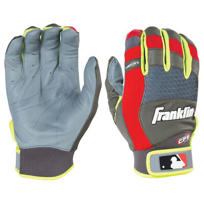 Franklin X-Vent Pro Youth Baseball Batting Gloves, Grey/Red/Optic Yellow - Large