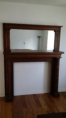Tiger oak mantle with mirror