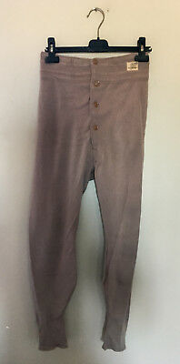 vintage chinese military high rise long john 100% wool underwear tan button fly