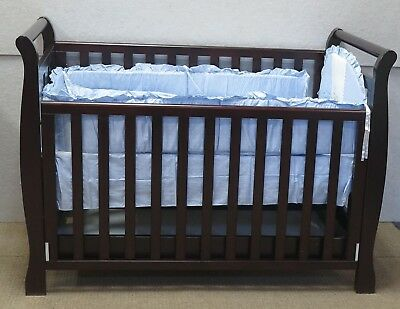 Cot Bedding Set Bed Baby Bassinet Crib Quilt Bumper Sheet Blanket Pillar Blue