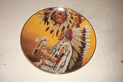 ROUND PLATE- AMERICAN INDIAN HERITAGE COLLECTOR PLATE-Chief Wolf Plume -limited
