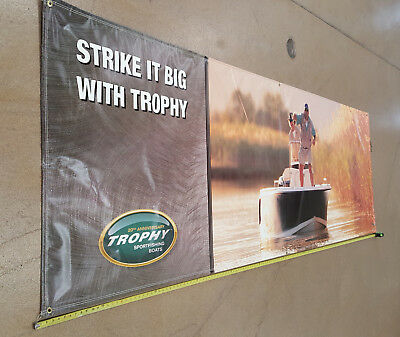 "Trophy Fishing Boats Sign Banner 144""x46"" Man Cave Garage"